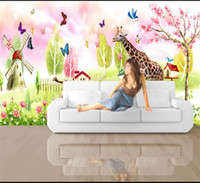 Wholesale windmill paintings for sale - Group buy Custom Size D Photo Wallpaper Living Room Mural Spring Zoo Windmill Painting Picture Mural Home Decor Creative Hotel Study Wall Paper D