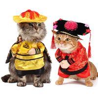 ingrosso cinese vestito di natale-Divertente Pet Costume La principessa cinese con un copricapo di Halloween Cosplay abbigliamento per cani Cat Abbigliamento Natale Outfit