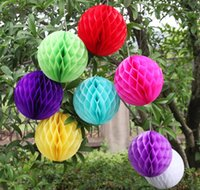 Wholesale green paper flowers resale online - 10cm quot Honeycomb Ball Flower Paper Lantern Babyshower Birthday Party Decoration Lampion Wedding Christmas Festive Supplies