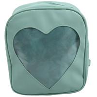 okul çantası çantası toptan satış-Genç Kızlar Çocuk Çanta Bag için net Şeker Sırt Şeffaf Aşk Kalp Okul Çantaları (Yeşil)