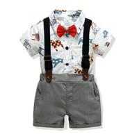 ingrosso bambino pantaloni corti pantaloni-Pagliaccetto stampato + cravatta + pantalone + reggicalze Set neonato bambino manica 4 pezzi Set manica corta neonato Gentry Baby Tops Pant Suit