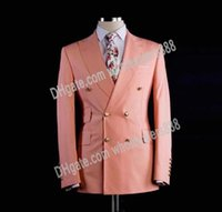 мужские лавандовые костюмы оптовых-Double Breasted Groomsmen Peach/Lavender Groom Tuxedos Peak Lapel Men Suits Wedding Best Man Blazer ( Jacket+Pants+Tie ) C514
