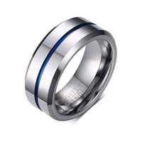 paare blaue edelstahlringe großhandel-2019 heißer verkauf titanium edelstahl mode 8mm blau liebhaber ringe für männer schmuck paare zirkonia hochzeit ringe bague femme