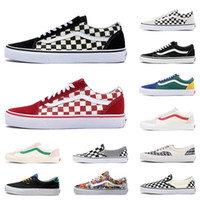 Wholesale toe shoes resale online - New Van Original old skool MIx Checker OTW REPEAT FEAR OF GOD CHECKERBOARD canvas mens sport sneakers fashion casual shoes size