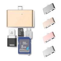 устройство считывания микроотв. карт оптовых-USB-концентраторы типа C к USB 4 в 1 Адаптер устройства чтения карт OTG SD TF Карта к Micro USB 3.1