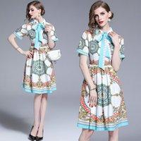 neue kleider mädchen revers großhandel-Neue kurzarm bogen gedruckt damen kleid mode elegante revers dame kleid sommer hohe taille mädchen kleid