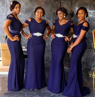 ceintures perlées violettes achat en gros de-Nigéria Filles Sud-Africaines Filles Robes Demoiselles D'honneur Profondes Pourpre Avec Ceinture Perlée Mancherons Longueur De Plancher Sirène De Mariage Robes Invité