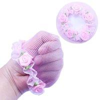 kinderhaarnetze groihandel-Nette Mädchen Flower Bun Haar Nets für Dancersr Kinder Bun Net-Abdeckung Haarschmuck Tanzkleidung HT084