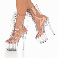 женские ботинки высокого качества pvc оптовых-Женская плексигласа ПВХ ясно мочился Toe высокий Кристалл платформы каблуки ботильоны шнуровке танцевальное шоу колено бути