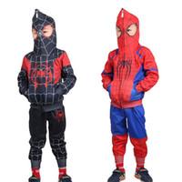 мальчики паук человек толстовки оптовых-Человек-паук в Spider-Verse мальчиков Одежда Hoodies + брюки Комплекты Спортивный костюм Человек-паук Косплей костюмы Детская одежда B1
