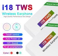 livraison bluetooth achat en gros de-I18 TWS tactile 5.0 Bluetooth sans fil Casque stéréo écouteurs marche automatique à éplucher Auto livraison rapide