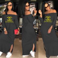 kadın altın giyim toptan satış-Lüks Kadınlar Bölünmüş Uzun Elbiseler Altın Mektuplar Kapalı Düz Omuz Yarık Maxi Elbise Shoulderless Uzun Etek Tasarımcı Parti Elbise Giyim C7807