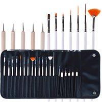 ensemble de points d'ongle achat en gros de-20pcs Nail Art Design stylo brosses Set Dotting peinture dessin vernis à ongles stylo outils maquillage brosse set Kit avec sac en cuir WWA161