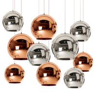retrovisores modernos al por mayor-Modern Dixon Espejo Bola de cristal Colgante Luz Cobre Plata Oro Globo Loft Hanglamp E27 Lámpara Luz de la cocina Accesorio de la sala de estar