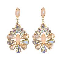 Wholesale champagne color earrings for sale - Group buy champagne flower Crystal Earrings for Jewelry Luxurious color Bling Crystal long tassel drop Earrings For Women Wedding
