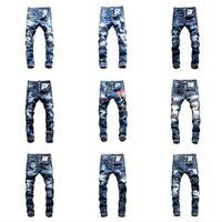 pantalon taille 48 achat en gros de-2019 Top Marque dsquared2 Qualité ds2 jeans mens designer jeans Hommes Denim noir Jeans Pantalon de broderie Mode Trous Pantalons Italie Taille 44-54