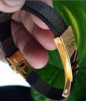 schwarze männer schmuck großhandel-Mode Männlichen Schmuck Lederarmband Handgemachtes Armband Schwarz Edelstahl Magnetische Verschlüsse Männer Wrist Band Geschenke