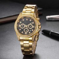 Wholesale fashion watch ice online - luxury watch mens watches diamond quartz iced out watch r1018 fashion classic gold silver stainless steel designer brand Wristwatches