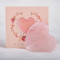 Wholesale rose big size for sale - Group buy Beauty Big Size Love Heart Gua Sha Rose Quartz Natural Crystal Gua Sha Massage Face Neck Body SPA Scraping Skin Care Tool in Gift Box