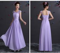güzel uzun şifon nedime elbiseleri toptan satış-Toptan Lace up Şifon gelinlik modelleri Işık mor güzel uzun resmi elbise