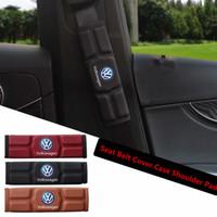 fundas de asiento volkswagen passat al por mayor-Cubierta del cinturón de seguridad del asiento del coche Hombro para Volkswagen VW Polo Golf 3 escarabajo MK2 MK3 MK4 MK5 MK6 Bora CC Passat Rojo Negro Marrón Memoria Algodón