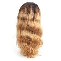 peluca americana africana sin cola ola al por mayor-Beso Pelo Onda del cuerpo Pre-Plucked Glueless Lace Front Pelucas de cabello humano Ombre Honey Blonde Full Lace Wigs Pelucas afroamericanas