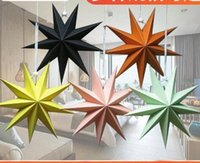 Wholesale christmas star resale online - 30cm cm cm Nine Angles Paper Star Decoration Tissue Paper Star Lantern Hanging Stars For Christmas Party Decoration