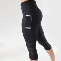 Wholesale maternity pants online - Women Sport leggings Yoga Pants Calf length Pants Gym Fitness Leggings Lady Girl Black Mesh pants Maternity Clothing TTA488