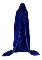 ingrosso mantello con cappuccio azzurro-New Blue And 10 Colour Lining Mantello di velluto con cappuccio Gothic Wicca Robe Medieval Witchcraft Mantella del lupo Mantella con cappuccio Vampire Mantello del partito di Halloween