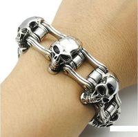 "Fashion Cool Men Stainless Steel Chain 23mm Skull Motorcycle Biker Bracelet 8.5/"""