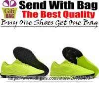 zapatos verdes negros de interior al por mayor-Original Low Indoor Soccer Shoes Mens Mercurial Vapors XII Pro IC TF Botas de fútbol Calcetines Césped Fútbol Calas Fluorescente Verde Negro 6.5-12