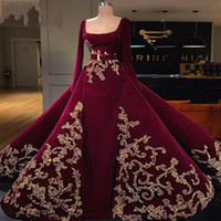 bata soiree peplum al por mayor-Dubai estilo Overskirts Vestidos de noche con apliques Sash Manga larga Vestido de fiesta Cuadrado Rojo oscuro batas de fiesta Vestidos de fiesta