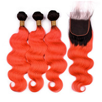 Wholesale wavy closure 1b online - Malaysian Human Hair Ombre Orange Body Wave Bundles with Top Closure B Orange Ombre Wavy Hair Weave Wefts with x4 Lace Closure Piece