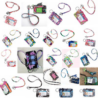 Wholesale card holder online - Printed Zipper ID Case with Lanyard ID Card Holder Credit Card Bus Card coin hanging wallet Case FFA1920