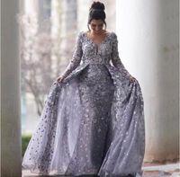 denizkızı islami gece elbiseleri toptan satış-Gri Müslüman Abiye 2020 Mermaid V Yaka Uzun Kollu Tül Dantel İslam Dubai Suudi Arapça Uzun Örgün Balo elbise