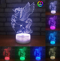 Wholesale usb powered toys for sale - Group buy Unicorn Flying Big Wing D Optical Illusion Lamp Night Light DC V USB Powered Battery Xmas Toys Gifts Dropshipping