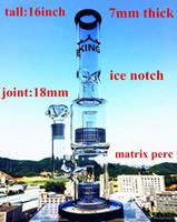 çift percolators sigara toptan satış-HBking cam su boruları modeli K14 Çift Matrix Duş Başlığı Percolator büyük boy bong 7mm kalınlığı cam Sigara Su boruları