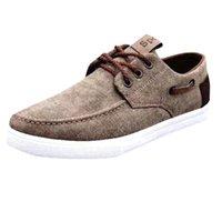 amerikan dantel ayakkabıları toptan satış-Avrupa ve Amerikan düz rahat ayakkabı Erkekler Moda Kanvas Ayakkabılar Eğilim Rahat Ayakkabılar Dantel-Up Rahat