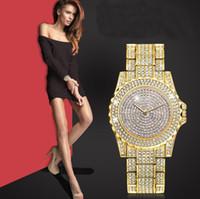 armbanduhrcharme großhandel-2019 Diamant-Uhr-Frauen-Armband-Markenuhr-Frauen Golddamen-Uhr mit Rhinestones-Qualitäts-Charme-Armbanduhr-Geschenk