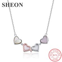 Wholesale silver multiple chain necklace for sale - Group buy SHEON Multiple Wearing Methods Silver Heart to Heart Clover Pendant Necklaces With Pink CZ Women Fashion Silver Jewelry