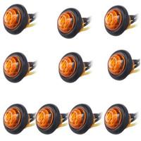 botón de 12v al por mayor-Luz de señal pequeña, pequeña, redonda, lateral, luces de giro, 3 LED, lámparas 12V Lámpara super brillante para auto