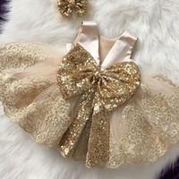 bebek elbiseleri oymalar toptan satış-Perakende bebek kız elbise Şampanya sequins bow backless gelinlik prenses elbise gül altın gelinlik modelleri çocuk giysi tasarımcısı