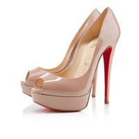 sandalias de plataforma desnuda de tacón alto al por mayor-Zapatos de plataforma de tacones altos de tacones altos con tacones altos de marca clásica Nude / Negro Patente peep-toe Vestido de mujer Sandalias de boda Tamaño de zapatos 34-45 l