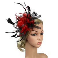 Wholesale wedding fedoras resale online - Banquet Fedoras Bowknot Party Hat Day Gift Bridal Women Wedding Feather Mesh Hair Accessory Fascinator Headband