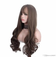 Wholesale kinky bangs resale online - Long Curly Synthetic Wigs with Bangs Brown Womans Hair Heat Resistant High Temperature Kinky Cosplay Wig for Women