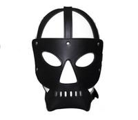 игра лицом для взрослых секс оптовых-Раб капюшон Маска черный яркий кожаный маски для лица секс-продукт для взрослых секс-игры секс-игрушки