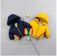 детское радужное пальто оптовых-2019 New Years' Children Coat Baby Boy winter Coats Rainbow embroidered hooded padded coat Fashion Kids Warm Clothing