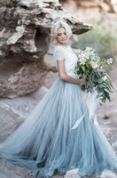 ingrosso gonna blu 12-2019 New Fairy Beach Boho Lace Abiti da sposa Collo alto A Line Morbido Tulle Cap maniche Backless Gonne blu chiaro Bohemian Bridal Gown