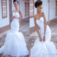 Wholesale organza african dresses for sale - Group buy 2020 african High Quality Mermaid Wedding Dress sweetheart tired Organza Pleat beaded Bridal Gowns Sexy Back Chapel Train bridal gown