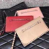 rosa dame wein großhandel-New Fashion Handtasche Kette Taschen Lady Bag Datteltasche Gold Rivet Valentines Rivet Rockstuds Kleiner Umschlag Nude Pink Silber Rotwein Weiß Farben